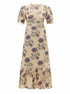 Sea - Odette Floral Print Cotton Midi Dress - Womens - Ivory Multi