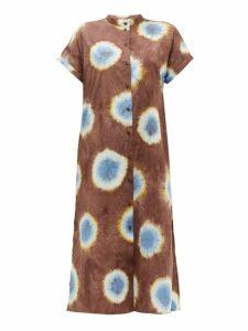 Sea - Tie Dye Buttoned Cotton Poplin Midi Dress - Womens - Brown Multi