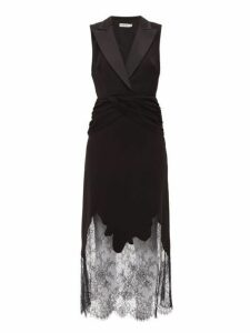 Self-portrait - Sleeveless Lace Trimmed Crepe Tuxedo Dress - Womens - Black