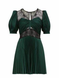 Self-portrait - Lace Trimmed V Neck Pleated Mini Dress - Womens - Green