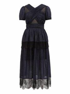 Self-portrait - Lace Trimmed Tiered Metallic Fil Coupé Dress - Womens - Black Navy