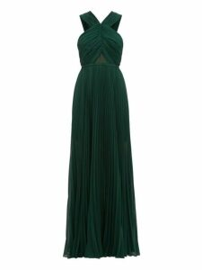 Self-portrait - Halterneck Pleated Chiffon Maxi Dress - Womens - Dark Green