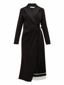 Self-portrait - Pleated Satin Blazer Wrap Dress - Womens - Black