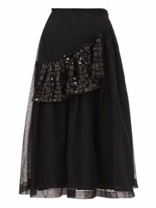Simone Rocha - Sequinned Ruffle Tulle Midi Skirt - Womens - Black