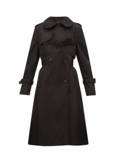 Simone Rocha - Ruffle Trimmed Belted Double Breasted Trench Coat - Womens - Black