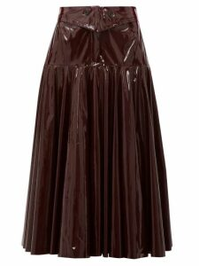 Palmer//harding - Gathered Pvc Midi Skirt - Womens - Burgundy