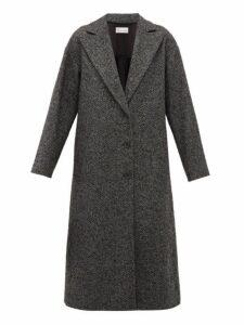 Redvalentino - Ruffled Single Breasted Herringbone Coat - Womens - Grey