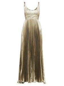 Maria Lucia Hohan - Amalia Metallic Silk Blend Chiffon Dress - Womens - Gold