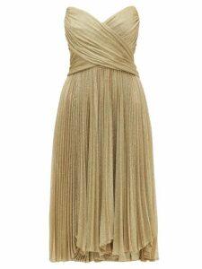Maria Lucia Hohan - Kaira Tie Back Sweetheart Neckline Metallic Dress - Womens - Gold