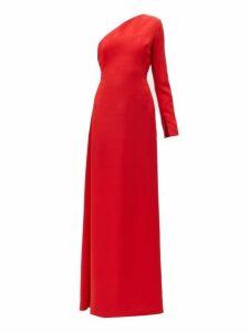 Carolina Herrera - One Shoulder Asymmetric Silk Twill Gown - Womens - Red