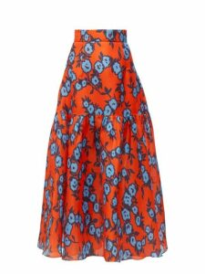 Carolina Herrera - Floral Print Gathered Silk Gazar Mid Skirt - Womens - Orange Multi