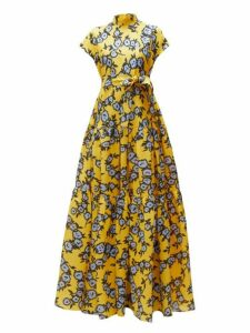 Carolina Herrera - Floral Print Gathered Silk Gazar Gown - Womens - Yellow Multi
