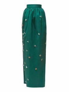 Carolina Herrera - Crystal Embellished Silk Faille Maxi Skirt - Womens - Dark Green