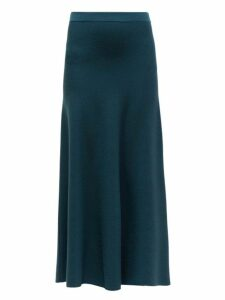 Gabriela Hearst - Freddie Wool Blend Midi Skirt - Womens - Green