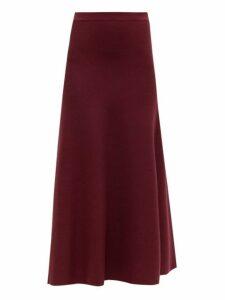 Gabriela Hearst - Freddie Wool Blend Midi Skirt - Womens - Burgundy