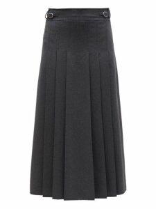 Gabriela Hearst - Wesley Pleated Flannel Midi Skirt - Womens - Dark Grey