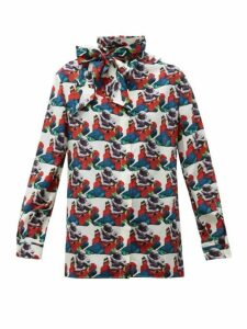 Valentino - Lovers Print Pussy Bow Silk Blouse - Womens - White Print