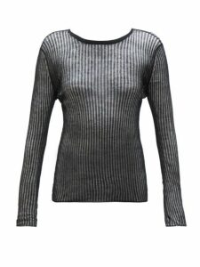 Saint Laurent - Semi Sheer Linen Blend Top - Womens - Black