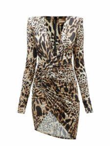 Alexandre Vauthier - Plunge Neck Lynx Print Jersey Mini Dress - Womens - Leopard