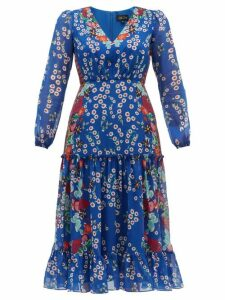 Saloni - Devon Floral Print Silk Crepe De Chine Dress - Womens - Blue Multi