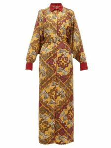 F.r.s - For Restless Sleepers - Febo Tiger Print Belted Satin Cloqué Shirtdress - Womens - Yellow Multi
