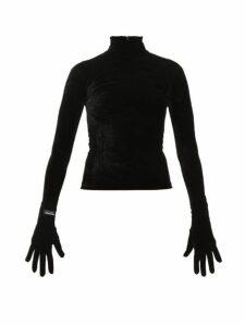 Richard Quinn - High Neck Velvet Top - Womens - Black
