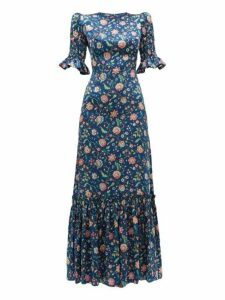 The Vampire's Wife - The Night Flight Floral Print Silk Maxi Dress - Womens - Navy Multi