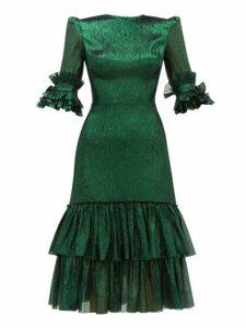 The Vampire's Wife - The Veneration Tiered Silk Blend Lamé Dress - Womens - Dark Green