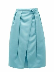 Prada - Rosette Waist Duchess Satin Skirt - Womens - Blue