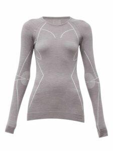 Falke - Long Sleeved Technical Wool Blend T Shirt - Womens - Grey