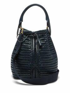Anya Hindmarch - The Neeson Woven Leather Bucket Bag - Womens - Navy