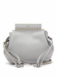 Valentino - Rockstud Grained Leather Bucket Bag - Womens - Light Grey