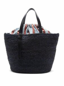 Cesta Collective - Large Woven Sisal And Striped Cotton Basket Bag - Womens - Navy Multi