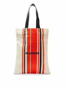 Jil Sander - Striped Logo Print Canvas Tote Bag - Womens - Red Multi