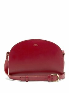 A.p.c. - Half-moon Smooth-leather Cross-body Bag - Womens - Red