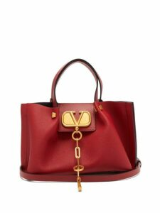 Valentino - V Chain Escape Small Grained Leather Tote Bag - Womens - Red