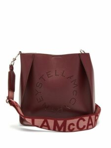 Stella Mccartney - Logo Strap Faux Leather Cross Body Bag - Womens - Burgundy