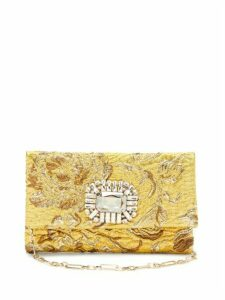 Jimmy Choo - Titania Crystal Embellished Brocade Clutch - Womens - Gold Multi