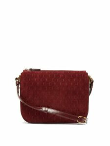 Saint Laurent - Monogram Suede And Leather Cross Body Bag - Womens - Burgundy