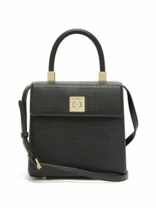 Sparrows Weave - The Classic Lizard Effect Leather Cross Body Bag - Womens - Black