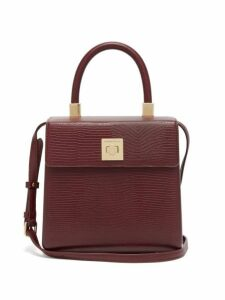 Sparrows Weave - The Classic Lizard Embossed Box Bag - Womens - Burgundy