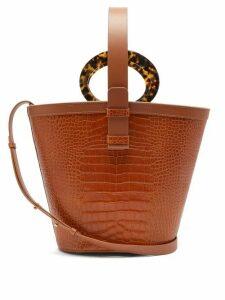 Nico Giani - Nelia Crocodile Effect Leather Bucket Bag - Womens - Tan