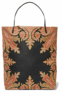 Etro - Reversible Leather-trimmed Cotton-blend Canvas Tote - Black