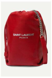 SAINT LAURENT - Teddy Printed Leather Bucket Bag - Red