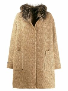 Manzoni 24 knitted mid-length coat - Brown