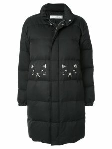 Tu es mon TRÉSOR embellished cat coat - Black