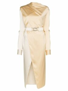 Bottega Veneta draped belted midi-dress - Neutrals