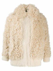 Miu Miu oversized zipped shearling jacket - Neutrals