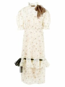 Miu Miu floral lace neck tie dress - Neutrals