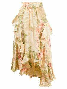Zimmermann asymmetric floral skirt - Neutrals
